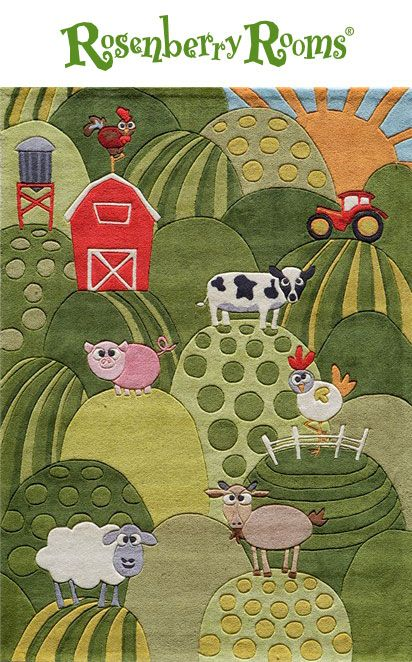 The Lil Mo Farm Rug in Grass is an adorable farm themed rug that featured silly farm animals and rolling green hills.   This rug is perfect for a down on the farm themed bedroom or nursery!