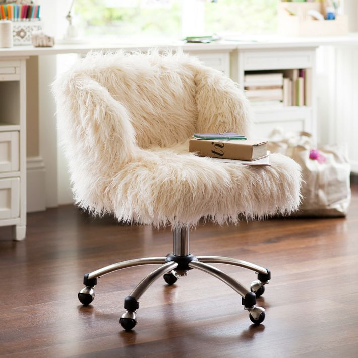 13 Ways To Upgrade Your Home Office #refinery29  http://www.refinery29.com/office-chairs#slide4  PB Teen Furlicious Wingback Desk Chair, $259, available at PB Teen.