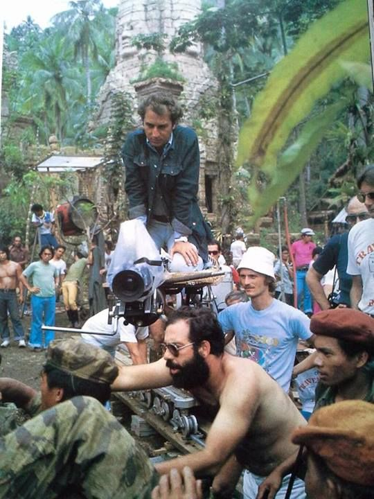 """Director Francis Ford Coppola on the set of """"Apocalypse Now"""" 1979"""