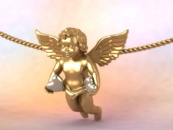 Love angel gold pendant