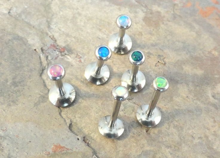 2mm Pink Fire Opal Stud Cartilage Earring Tragus Helix Monroe 16 Gauge Piercing