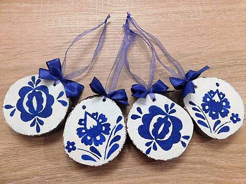 RebekaP / Pre milovníkov modrej farby - drevené vianočné ozdoby
