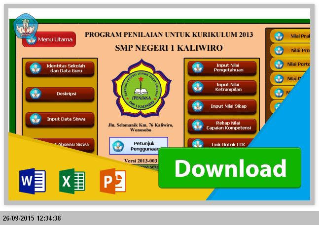 [.xls otomatis] [ Penilaian  Pengisian ] Menggunakan Aplikasi Raport SMP Kurikulum 2013 Microsoft Excel
