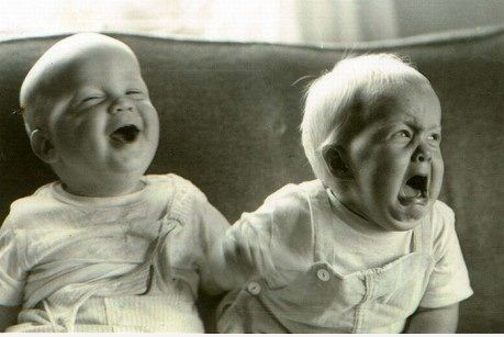.This is like a pic of my husband and his twin sister.  She is laughing in the pic and my hubby crying!  Tooo cute!