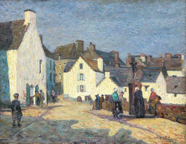 Raymond Thibésart 1874-1968 Tableau daté 1910 Douarnenez La place du Grand Port et La Fontaine