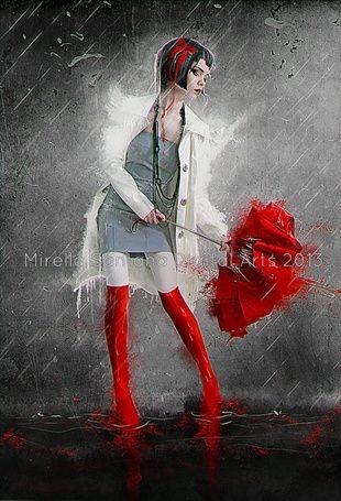 Фото Темноволосая девушка с короткой прической и красным бантом на голове, стоящая под дождем, пытается открыть красный зонтик с которого стекают капли, автор Mirella Santana