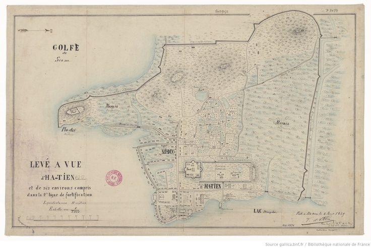 Levé à vue d'Ha-tien (Cochinchine) et de ses environs compris dans la 2e ligne des fortifications... 1/5.000 / (Signé :) V. d'Elbée, sous-lieutenant à la 22e Cie du 1er régiment d'infanterie de la marine