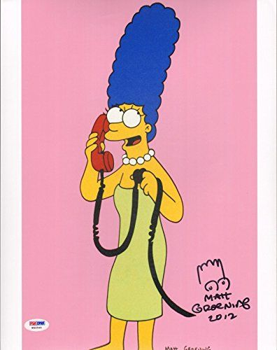 """MATT GROENING The Simpsons """"Marge"""" Signed Autographed 11x14 Photo PSA/DNA W32544"""