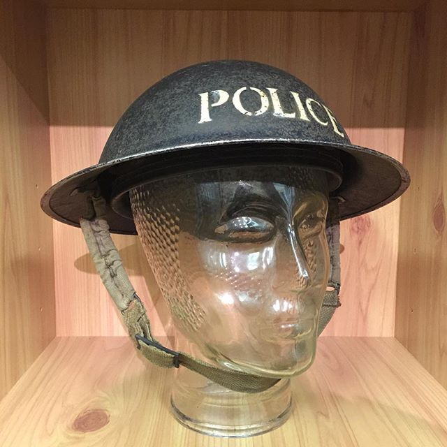 A Second World War Police helmet at Whittlesey Museum. #whittleseymuseum #history #ww2 #police
