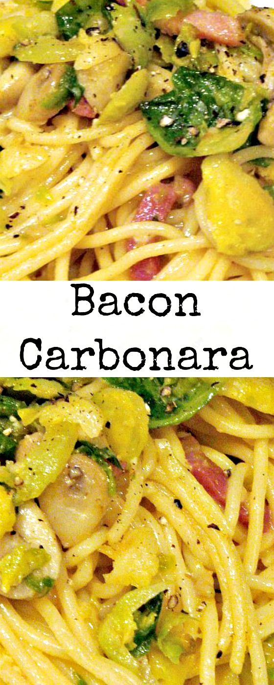 Bacon Carbonara is an incredibly easy recipe and great for using left over pasta too! Add cheese, bacon and some vegetables and it is perfect for a main meal, all done in one pan! via @lovefoodies