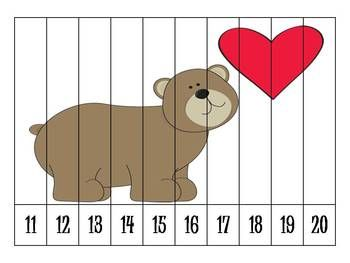 Here's a set of 7 different Valentine's themed number order puzzles.