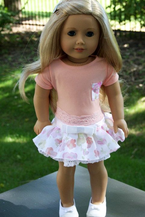 American Girl Doll Clothes 2 Piece Ruffled by sewurbandesigns