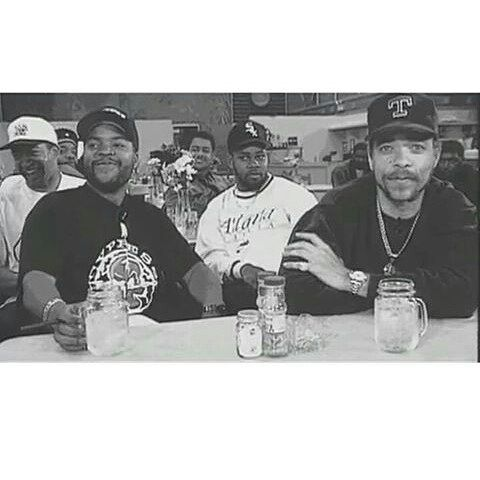 "This Pic of @icecube and @icet is dope and funny at the same time. Notice that the only one who looks in the Camera is Ice-T Everyone looking to the left and it gotta be so funny that even Cube is kinda laughingjust like the guy behind Cube (left). We see a big ass hater in the Middle of Cube & T. Look at his face expressionhe looks really jealous and envious of Cubelike""Bwhat u laughin'at?U aint gon be laughing when I kill you laterfuck your wife and then steal all yo money and go as 'Hot…"