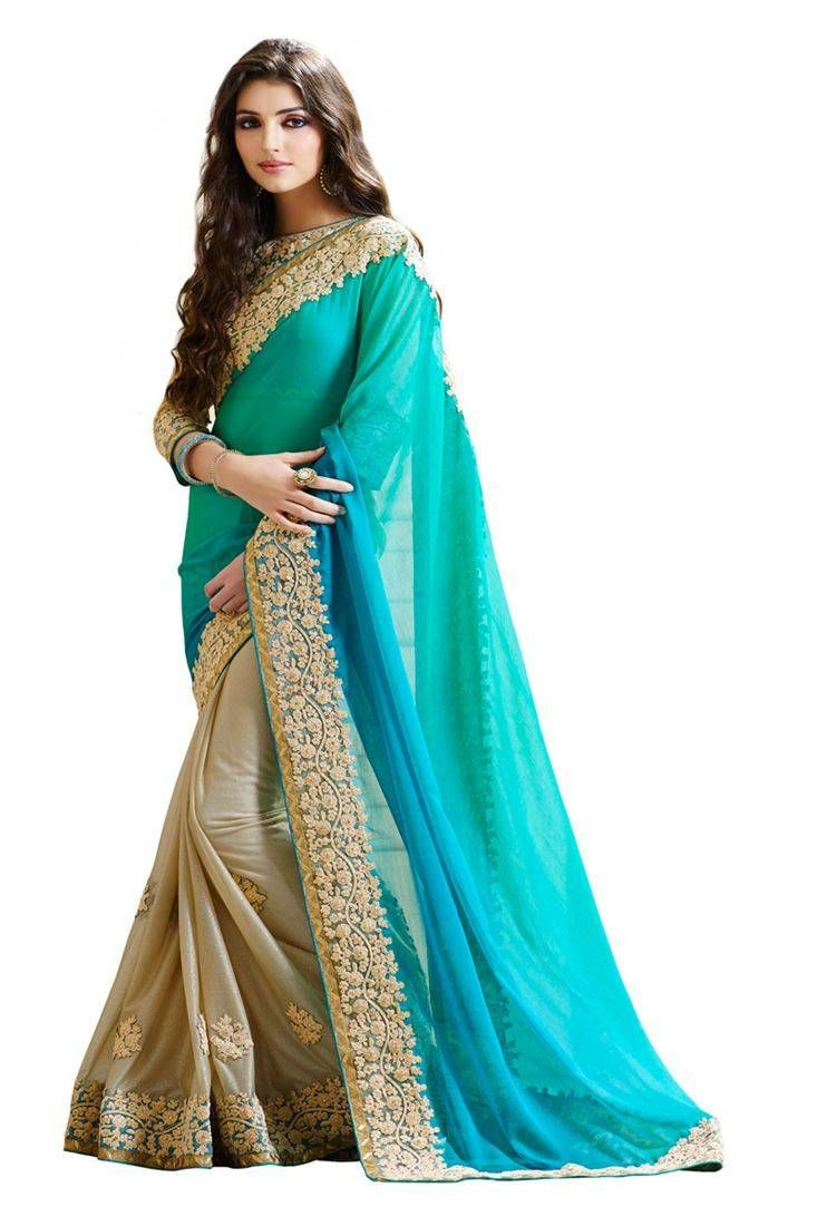 10671686ef23d Beautiful firozi color embroidered georgette wedding saree with ...