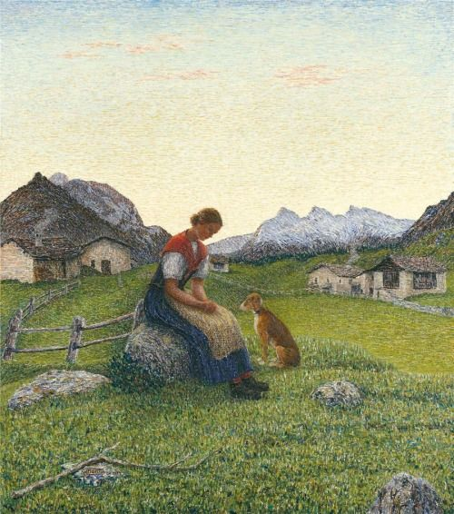 Young Engiadinian Girl in front of a Mountain Landscape - Gottardo Segantini  1939