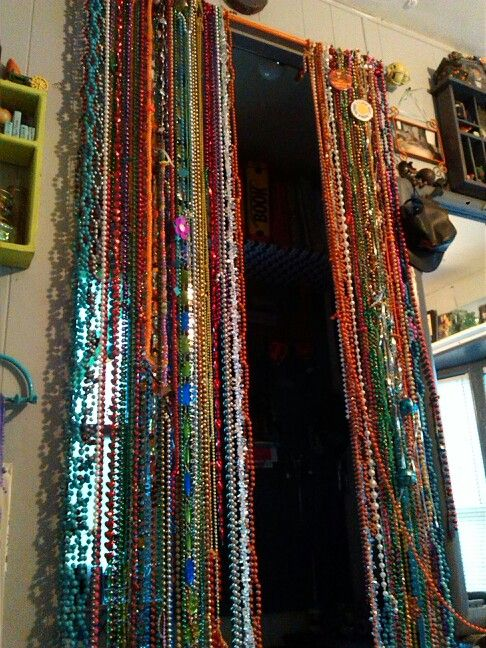 Beaded Curtain Diy Mardi Gras Beads Curtain Rod Time