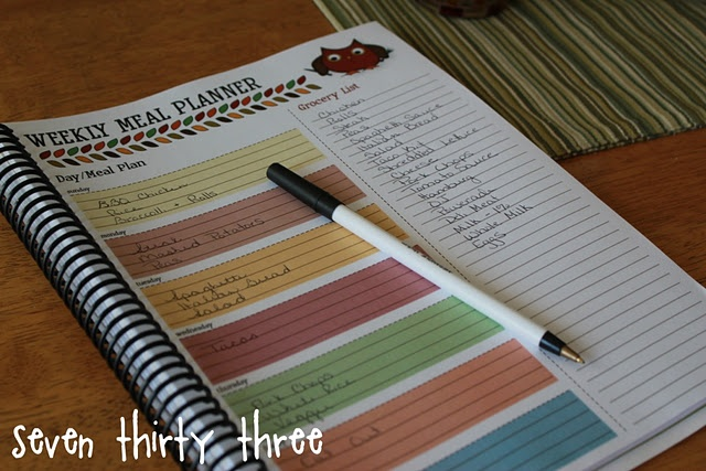 Meal Planner - and I love that you can print it off and bind it so you don't have loose pages everywhere + you can see what you had in the previous weeks! Loves me some organization - always!