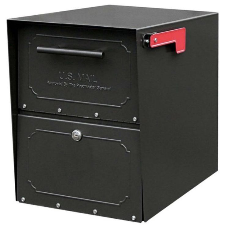 Locking Mailbox Post Mount Large Mailboxes Black Heavy Duty Secure Mounted GIFT #ARCHITECTURALMAILBOXES