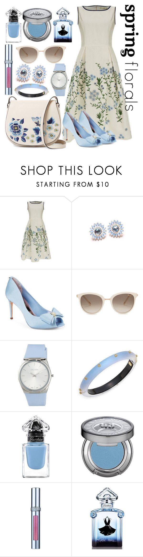 """Spring Floral Dress"" by lullulu ❤ liked on Polyvore featuring Goat, Ted Baker, Chopard, ESCADA, Alexis Bittar, Urban Decay, La Prairie, Guerlain and French Connection"