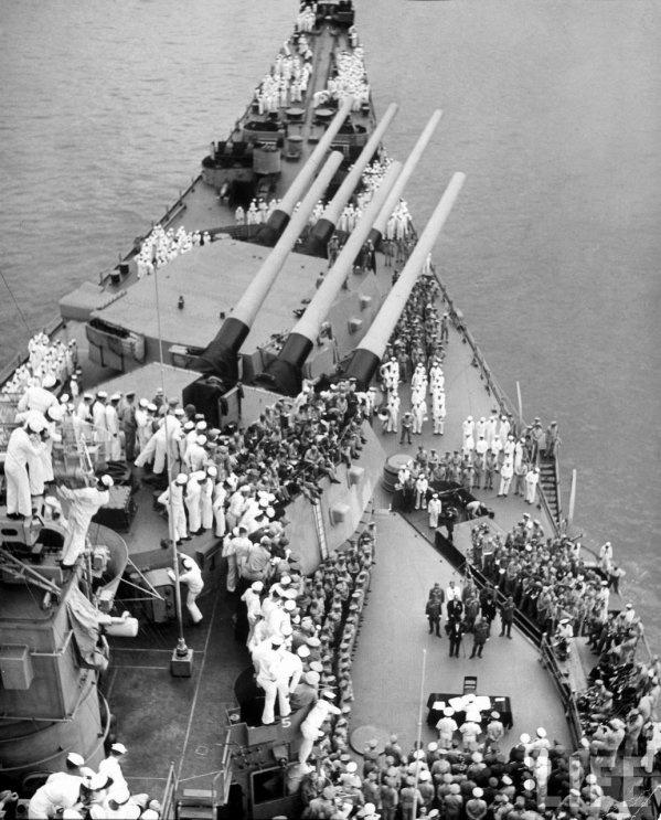 Japanese surrender ceremony aboard 16 in battleship USS Missouri BB-63, Tokyo Bay, 2 September 1945.