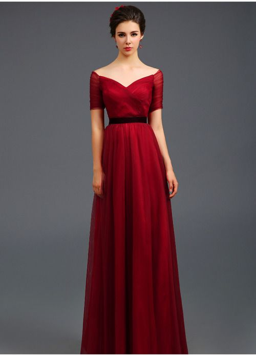 Burgundy half sleeve long dress,formal dress