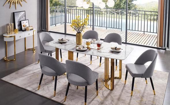 Esf E131 Gold Marble Dining Table In Luxury Style E131 Gold Table
