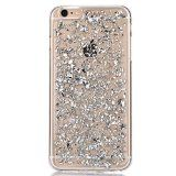Sunroyal Etui Transparent pour Apple iPhone 6/6S (4.7 pouces) Bling TPU Gel Coque Ultra Mince Paillette Case Cover Telephone Portable Soft Housse Cas Prime Flex Silicone Skin Protection Shell Coquille Couvrir Coverture Pare-Chocs Anti-Choc Bumper - Argent Silver