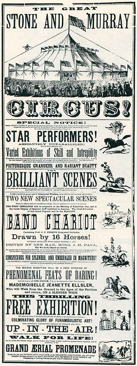 1870 Circus poster. From Rob Roy Kelly's American Wood Type: 1828-1900