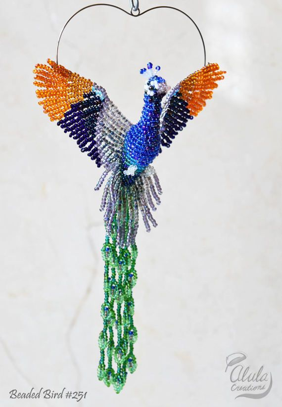 Peacock Bird Suncatcher, Peacock Window Decor, Beaded Bird Ornament, Bead Bird Necklace, Bird Figurine, Car Charm Bird Lover Gift, BB#251