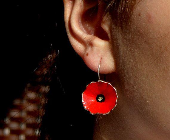 red poppy like earringscolorful poppy like sterling by atermono