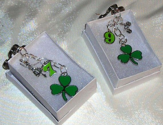 Clover Leaf Irish Key Charm, key fob with #9 or 7. also with Celtic Dancer.  May the Luck of the Irish follow you.
