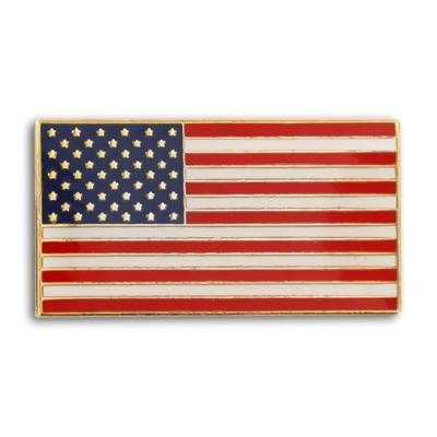 This simple rectangle American Flag Pin is the same pin worn by President Barack Obama. Made from die struck brass, plated in gold, enamel color filled, and epoxy coated for added protection. Each pin includes a clutch back and is individually poly bagged.