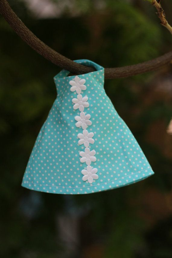 Fashion Doll Clothes Aqua White Dotted Cotton by RibizliDesign