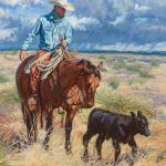 """Tyler Crow ~ """"A Slow-Moving Calf and a Fast-Moving Storm"""" oil, 20 x 18."""