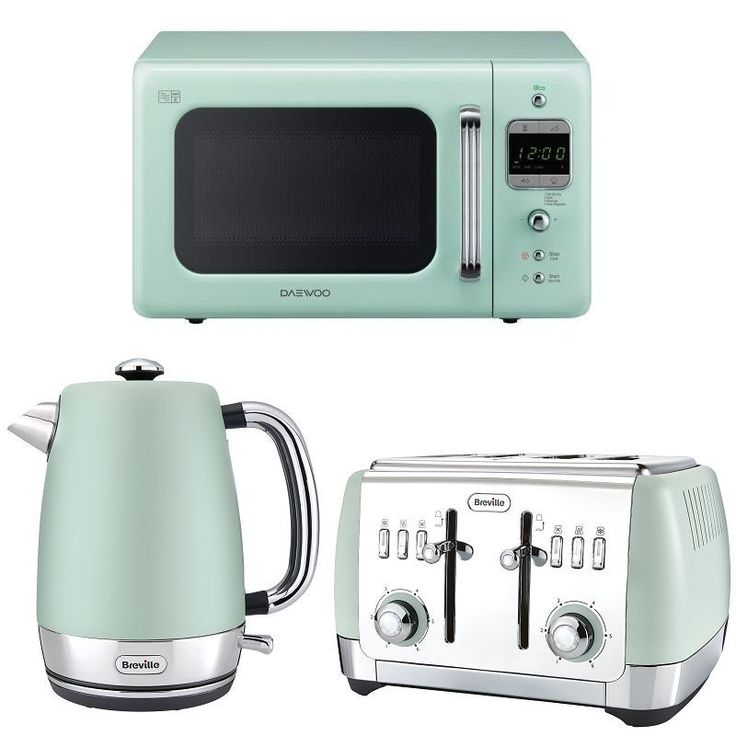 Mint Green Daewoo Retro Microwave + Breville Kettle Toaster Set | eBay