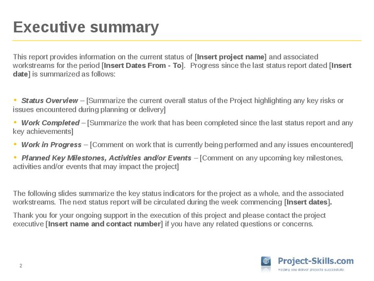 Example Executive Summary Report sample executive summary example – Executive Summary Report Template