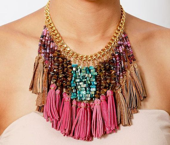 beads and tassels fringe necklace