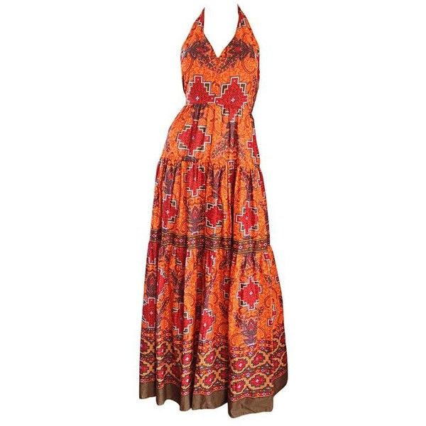 Preowned 1970s Frank Usher Of London Couture Boho Ethnic Tribal Print... ($895) ❤ liked on Polyvore featuring dresses, brown, bohemian maxi dress, maxi dresses, red dress, brown maxi dress and halter dress