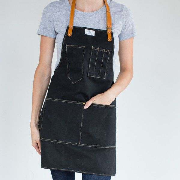 Artisan Apron in Black Wax Canvas & Saddle Leather - Jenny in Custom Fit apron