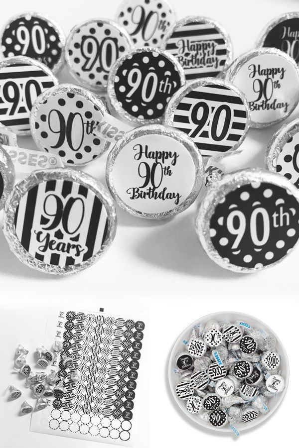 Use These Stickers To Make Black And White 90th Birthday Party Favors Decorations Help You Say Happy 90thbirthday