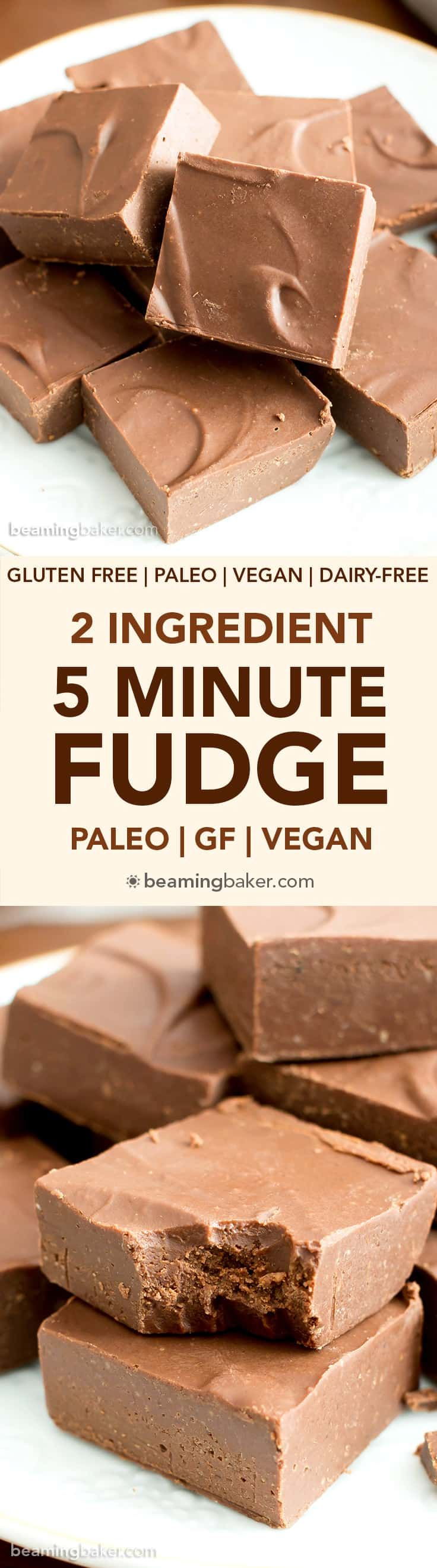 2 Ingredient 5 Minute Homemade Fudge Recipe (V, GF): a quick 'n easy recipe for rich, decadent chocolate fudge that's stable at room temperature! #Paleo #Vegan #GlutenFree #DairyFree #Dessert | Recipe on BeamingBaker.com