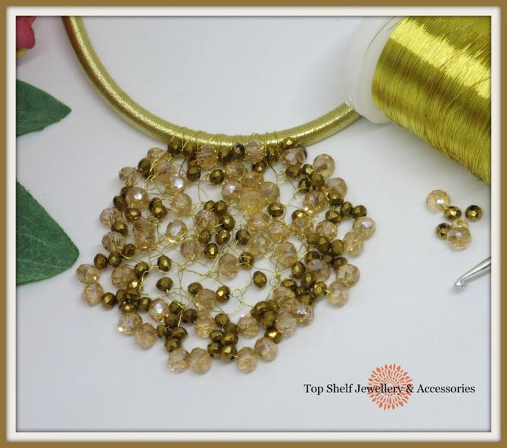 Crochet wire Crystal and Bead Pendant by Top Shelf Jewellery & Accessories