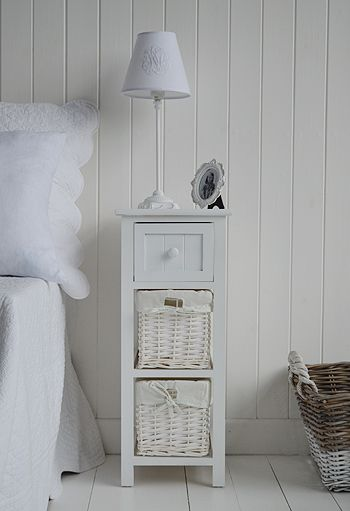 Bar Harbor white bedside table with baskets and drawers. Affordable bedside tables, large range of sizes and styles with fast delivery from The White Lighthouse