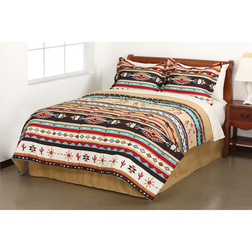 Mainstays Kokopelli Stripe Bed in a Bag Bedding Set - kinda cool if you wanna go for that Aztec look...add a little sisal or jute rug, maybe a rustic looking lamp, you're all set.