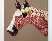 Pony in Profile, handmade button artwork