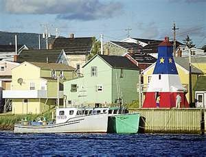 """Downtown"" and wharf - Cheticamp, Cape Breton, NS."