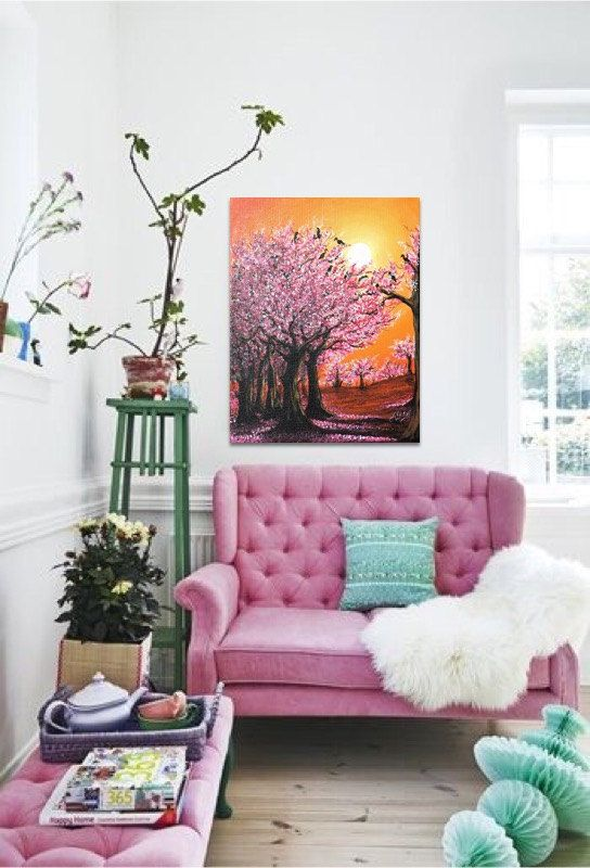 Please contact me for shipping cost 🔸 Processing time: 1-3 days (if you need early please refer it) 🔸 Title: CHERRY BLOSSOM 🔸 Painter: Abira Bose 🔸 Color: Pink, orange colors 🔸 Material: high quality acrylic paint, gallery wrapped canvas STRETCHED, varnish, brush 🔸 Size: 16 x 20 inch(40.64 x 50.8 cm or from drop down options) 🔸 Style and nature: Contemporary painting, landscape painting, nature painting ,abstract painting, acrylic painting wall art, modern painting, wall decor canvas…