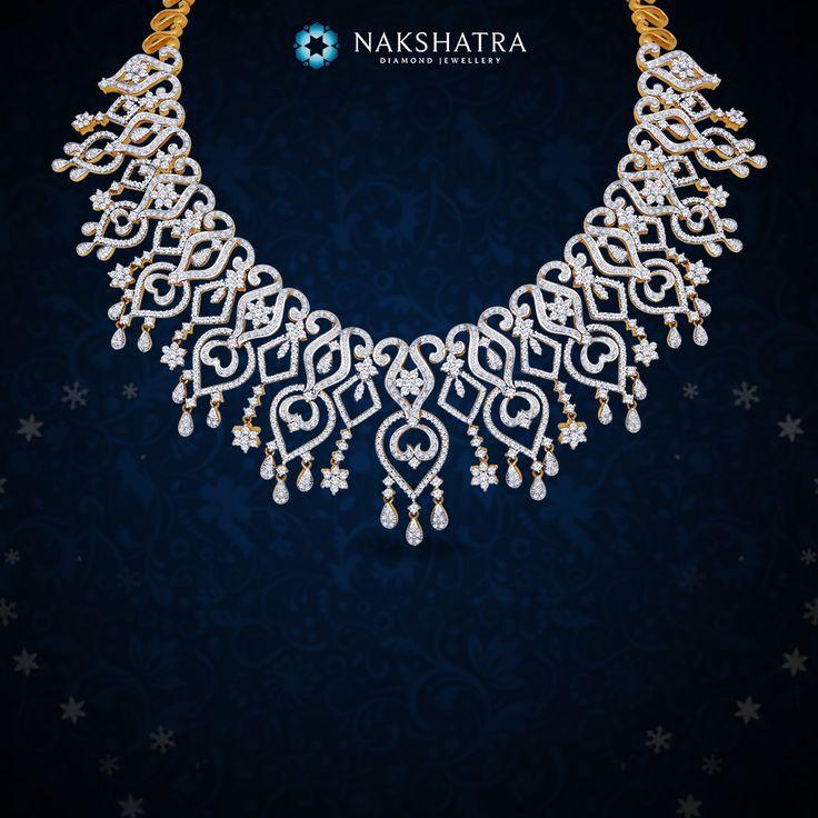 Embrace this artistically structured Nakshatra diamond necklace for your wedding ceremony.