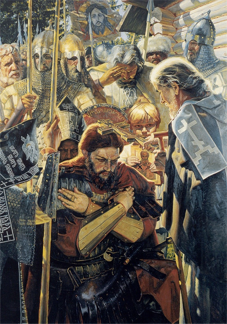 """Dmitry I Donskoy (12 October 1350– 19 May 1389) was the first prince of Moscow to challenge Tatars and Mongol authority in Russia. His nickname, Donskoy (i.e., """"of the Don""""), alludes to his great victory against the Tatars in the Battle of Kulikovo (1380) which took place on the Don River. As the legend says before the battle Dmitry asked for the blessing of Sergiy Radonezhskiy, the saint, and won the battle though the Tatars troops exceeded the army of Dmitry. He was only 30y.o.in that…"""