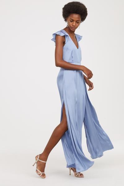 Satin Maxi Dress - Pigeon blue -  e807089b0efa7